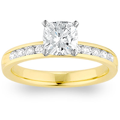 Moissanite 14k Yellow Gold Channel-Set Cushion Cut Engagement Ring