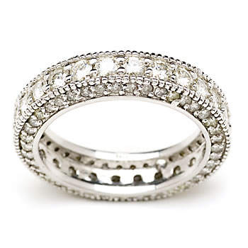 1.6 Carat Moissanite and Diamond Eternity Band In 14kt White Gold